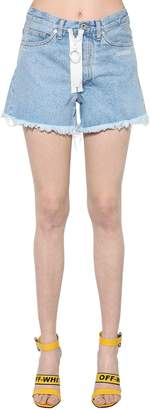 Off-White Raw Cut Zip Cotton Denim Shorts