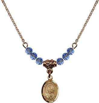 Beretta Bonyak Jewelry Saint Necklace Collection 18-Inch Hamilton Gold Plated Necklace w/ 4mm Light Blue September Birth Month Stone Beads & Saint Gianna Molla Charm
