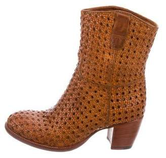 Rocco P. Woven Leather Ankle Boots w/ Tags