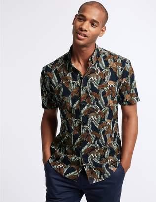 Marks and Spencer Slim Fit Lemur Print Shirt