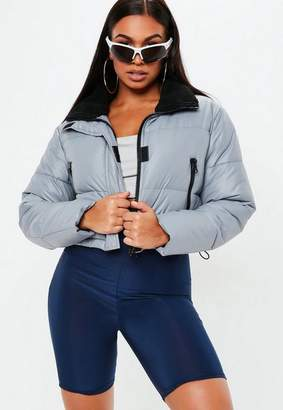 Missguided Gray Crop Oversized Puffer Jacket