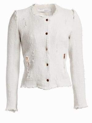IRO Lala Frayed Zip-Up Jacket