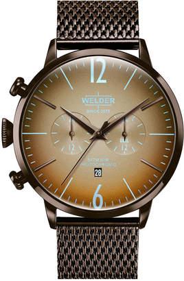 Welder Men Brown Stainless Steel Mesh Bracelet Watch 45mm
