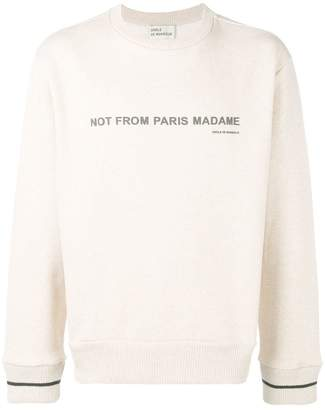 BEIGE Drôle De Monsieur crew neck sweatshirt