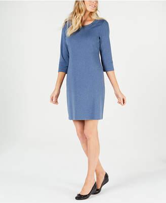Karen Scott Petite Cotton Boat-Neck Dress