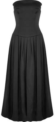 Giorgio Armani Strapless Silk Midi Dress - Black