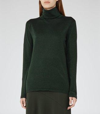 Reiss Sassy - Metallic Roll-neck Top in Green, Womens
