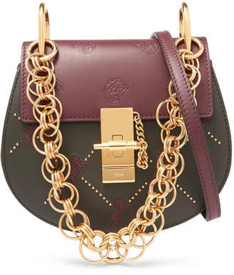 Chloé Drew Bijou Mini Studded Embroidered Leather Shoulder Bag - Dark green
