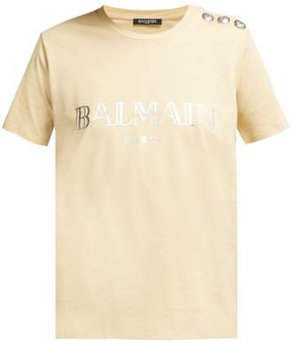 Balmain Metallic Logo Print T Shirt - Womens - Beige