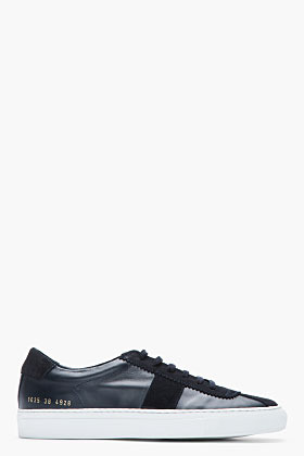 Common Projects Navy Leather & Suede Tennis Shoes