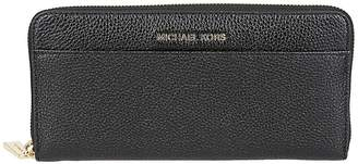Michael Kors Logo Plaque Zip Around Wallet