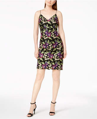 Calvin Klein Floral Embroidered Spaghetti-Strap Dress