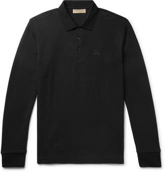 Burberry Embroidered Cotton-Pique Polo Shirt - Black