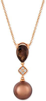 "LeVian Le Vian Chocolate Pearl (9mm), Chocolate Quartz (1-1/4 ct. t.w.) & Diamond Accent 20"" Pendant Necklace in 14k Rose Gold"