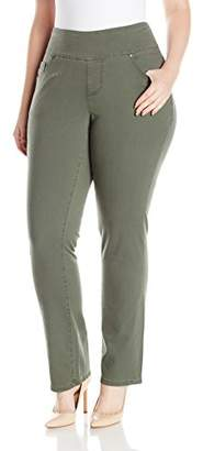 Jag Jeans Women's Plus Size Peri Pull On Straight Leg Pant in Bay Twill
