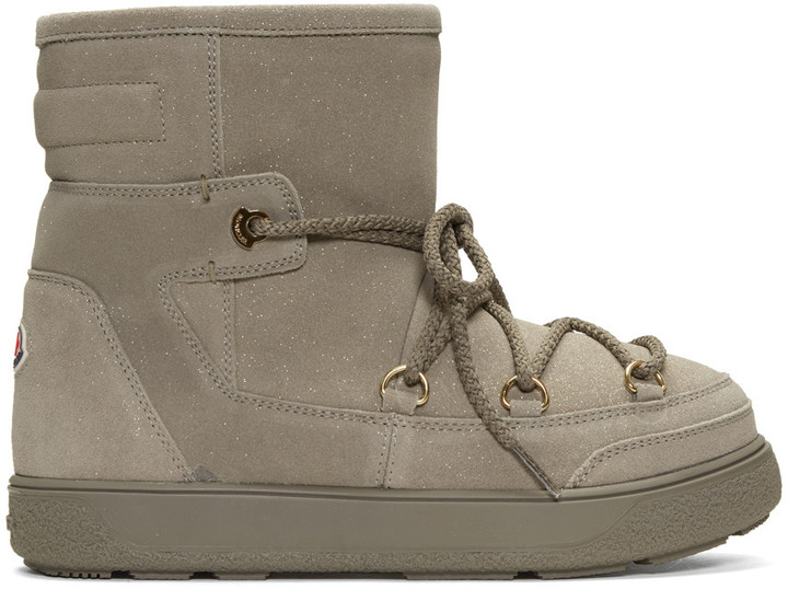 Moncler Moncler Beige Shearling Fanny Ankle Boots
