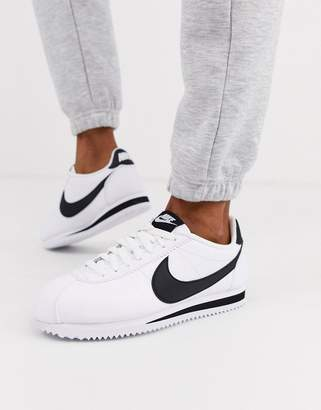 Nike White And Black Classic Cortez Leather Sneakers
