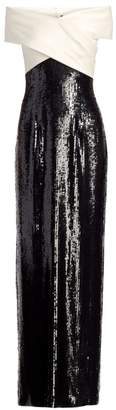 St. John Off-The-Shoulder Two-Tone Sequined Silk Column Gown