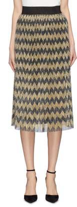 Alice + Olivia 'Mikaela' plissé pleated metallic chevron stripe skirt