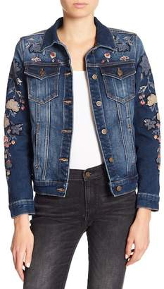 Driftwood Sequins & Floral Embroidered Denim Jacket