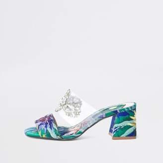 River Island Womens Green textile print block heel sandals
