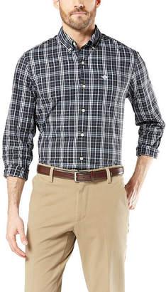 Dockers Comfort Flex Stretch Mens Long Sleeve Geometric Button-Front Shirt