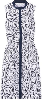 Oscar de la Renta - Printed Cotton-blend Poplin Dress - Navy $1,090 thestylecure.com