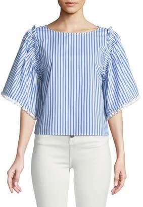 Ella Moss Boxy Striped Flutter-Sleeve Top