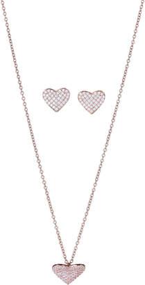 Crislu Rose Gold-Tone Heart-Shaped Pendant Necklace & Earrings Set