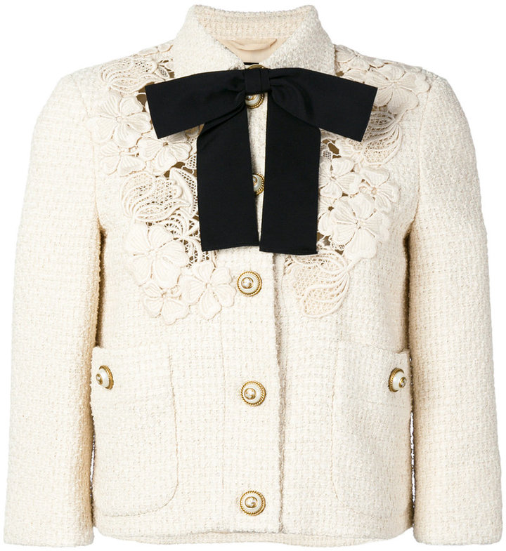 Gucci guipure lace detail cropped jacket