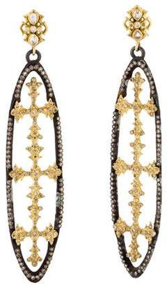 Armenta Diamond & White Sapphire Open Oval Cross Earrings