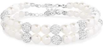 Magda Butrym Set Of Two Silver-tone, Crystal And Pearl Anklets - Ivory
