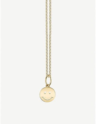 Sydney Evan The Alkemistry Happy Face 14ct yellow gold necklace
