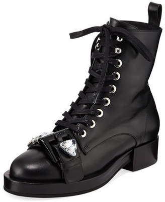 No.21 No. 21 Calf Leather Lace-Up Combat Boots