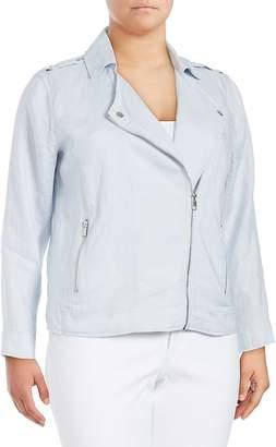 Vince Camuto Women's Drapey Linen Moto Jacket - Grey, Size 2x (18-20)