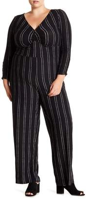 Derek Heart Patterned 3\u002F4 Sleeve Ruched Jumpsuit (Plus Size)