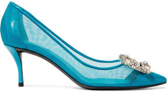 Roger Vivier Flower Crystal-embellished Mesh And Patent-leather Pumps - Blue