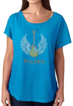Freebird LOS ANGELES POP ART Los Angeles Pop Art Women's Loose Fit Dolman Cut Word Art Shirt - LYRICS TO
