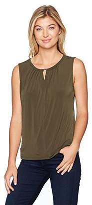 Nine West Women's Solid Ity Keyhole Blouse