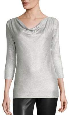 Majestic Filatures Metallic Cowlneck Top
