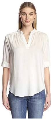 James & Erin Women's Solid Split Neck Shirt