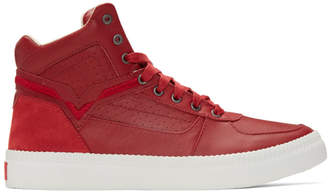 Diesel Red S-Spaark Mid-Top Sneakers
