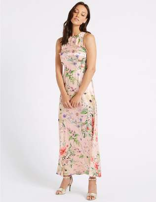 Marks and Spencer Floral Print Satin Bodycon Maxi Dress