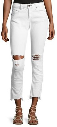 rag & bone/JEAN Dre Distressed Mid-Rise Capri Jeans, White $250 thestylecure.com