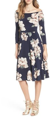 Women's Soprano Off The Shoulder Floral Print Fit & Flare Dress $49 thestylecure.com