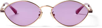 Jimmy Choo SONNY/S 58 Gold Metal Oval Sunglasses with Violet Mirror Lenses