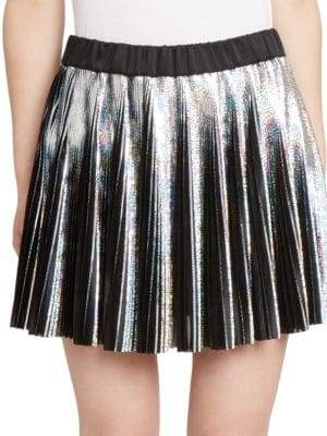 Balmain Holographic Pleated Mini Skirt