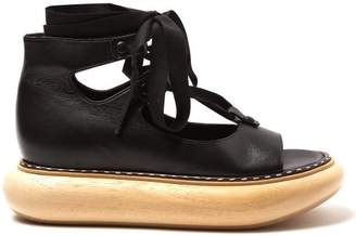 Loewe - Wooden Sole Leather Sandals - Womens - Black