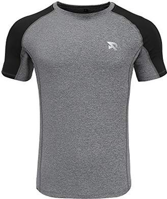 RADHYPE Men Polyester Classic Fit Short Sleeves Athletic Tshirt Training Top Gray XXL