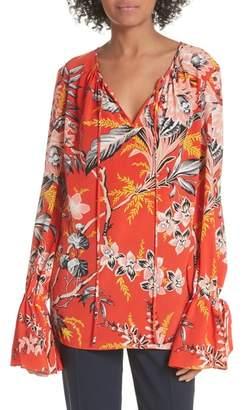 Diane von Furstenberg Keyhole Print Silk Blouse